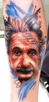 unusual style painted multicolored big tattoo with albert einstein