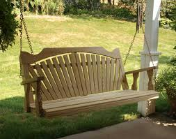 landscaping wood porch swings with concrete flooring and white