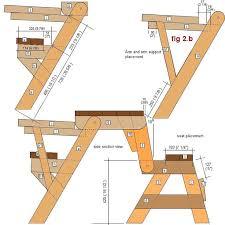 folding picnic table bench plans pdf 1 piece folding picnic table plans home decor pinterest
