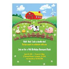 barnyard farm birthday invitations zazzle
