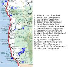 Map Of California And Oregon by South Southern Oregon Coast Area Campgrounds