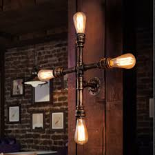 Edison Wall Sconce Vintage Nostalgic Industrial Antique Loft Water Pipe Edison Wall