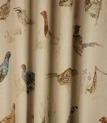Bird Print Curtain Fabric Voyage Decoration Game Birds Fabric Linen Just Fabrics