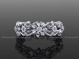 wedding ring on right floral wedding band 14k white gold band wedding ring