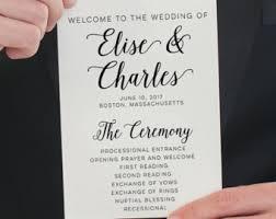 flat wedding programs printed program etsy