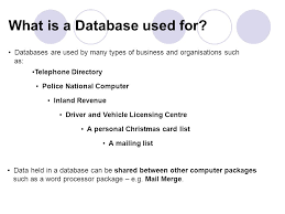 standard grade databases what is a database a database is made
