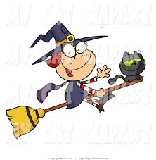 halloween clipart witch vector clip art of a happy halloween witch and cat flying on a