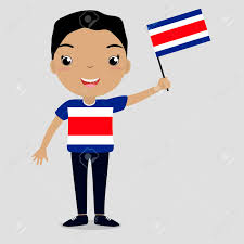 Costarica Flag Smiling Child Boy Holding A Costa Rica Flag Isolated On White