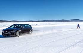 jaguar xf sportbrake tows graham bell to new ski speed record