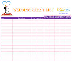 Wedding Invitation Excel Template A Preofesional Excel Blank Wedding Guest List List Templates