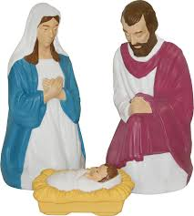 Blow Mold Plastic Outdoor Christmas Decorations by Amazon Com Nativity Scene Holy Family With Lights Outdoor