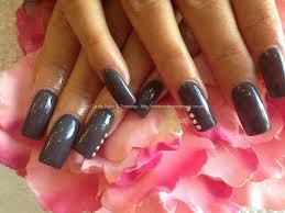 acrylic nails with dark grey gelish gel polish swarovski crystals