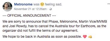 Seeking Cancelled Earthcore Sydney Cancelled As More Acts Pull Out Claims They