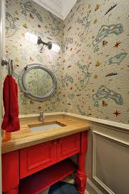 Powder Room Towels - philadelphia red white and blue wallpaper sunroom traditional with