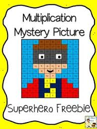 free superhero multiplication mystery picture by mrs thompson u0027s