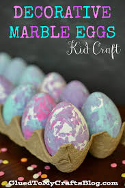 decorative marble eggs kid craft glued to my crafts
