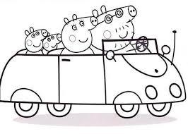 peppa pig family town car coloring peppa pig