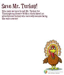 thanksgiving printable save mr turkey weareteachers