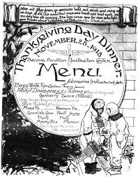 file second aviation center thanksgiving menu 1918