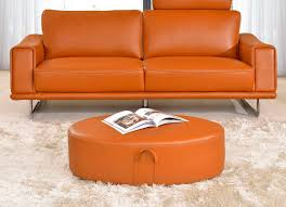 modern orange leather sofa ef531 leather sofas