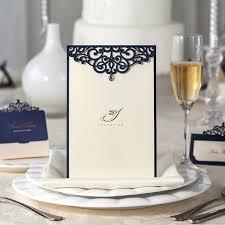 Blue Table Menu Laser Cut Deep Blue Color Wedding Invitation Card Table Menu In