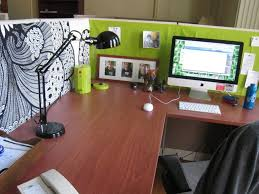Custom Desk Accessories by Decor Light Green Cubicle Decorations Ideas With Wooden Computer