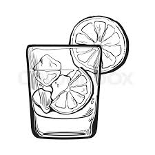 glass of gin vodka soda water with ice and lime sketch style