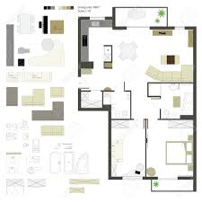 Floor Plans With Furniture Flat Projection With Furniture Set Scale Royalty Free Cliparts