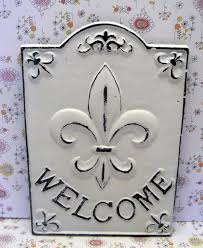 Welcome Home Decor Fleur De Lis Ornate Welcome Fdl Sign Shabby Chic White Home Decor