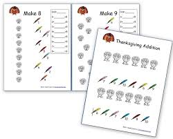thanksgiving math free basic addition and number family sheets