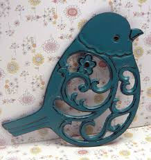 Teal Kitchen Decor by Cast Iron Bird Floral Trivet Teal Blue Shabby Chic Kitchen Decor