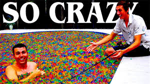 pool full of orbeez experiments youtube