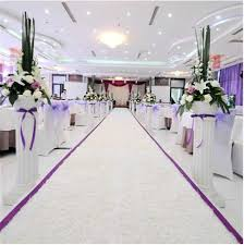 purple aisle runner online shop high quality white themed plush fabric wedding carpet