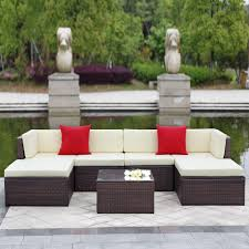 Sectional Sofa Set Brown Ikayaa 7pcs Outdoor Patio Garden Rattan Wicker Sectional