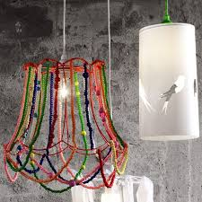 Chandelier Lamp Shades With Beads Decorations Colorful Beads Cover Bulb Glass Hanging Lamp Shade