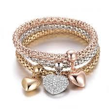 colored charm bracelet images Solid hearts charm bracelet set pandoras box inc jpg