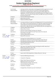 Job Responsibilities Resume by Senior Inspection Engineer V Chandrasekhar Resume As On 01 12 2014