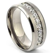 mens titanium rings simulated diamond titanium wedding band titanium cz ring