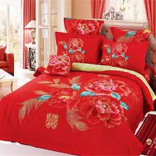 Peacock Feather Comforter Set Chinese Style Wedding Red Bedding Set Peony And Peacock Feathers