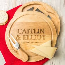 personalised couples christmas cheese board set by dust and things