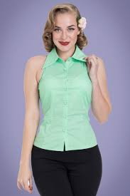 mint blouse 50s sleeveless blouse in mint