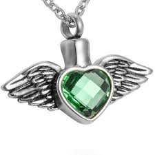 ashes pendant cremation jewelry green birthstone heart angel wings ashes pendant