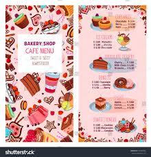 bakery shop menu template desserts cafe stock vector 618285002