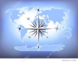 Map Rose Blue Compass Rose World Map Illustration