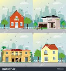 stylish modern house facades design city stock vector 679410382