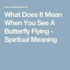 what does it when you see a butterfly flying spiritual