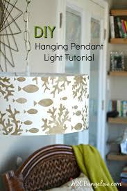 Diy Drum Pendant Light Stenciled Diy Hanging Pendant Light H20bungalow