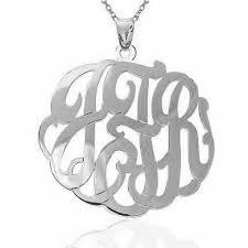 Monogram Necklace Silver Sterling Silver Fancy Script Monogram Necklace Be Monogrammed