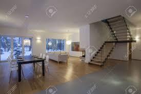 designers interior first floor of modern minimalistic house