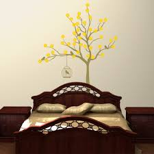 cherry blossom tree with birdcage wall stickers decals metallic gold and sunflower yellow cherry blossom tree with birdcage